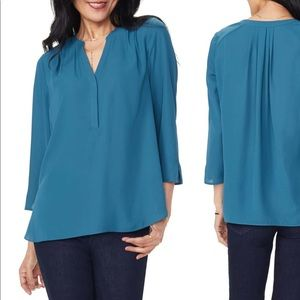 NYDJ teal blue Henley blouse size medium